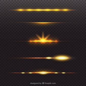 Golden lens flare divider collection