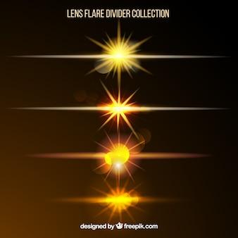 Golden lens flare divider collection