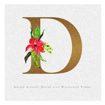 Золотое письмо d акварельный цветочный фон