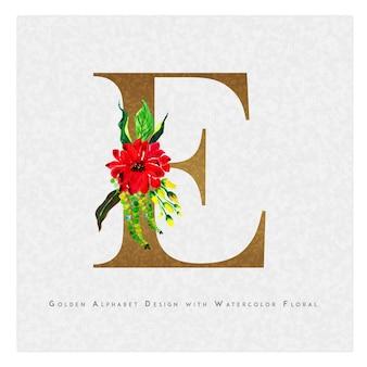 황금 편지 e 수채화 꽃 배경