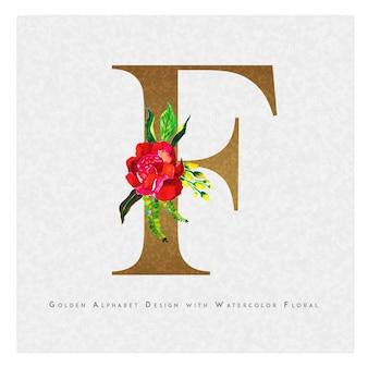 황금 편지 f 수채화 꽃 배경