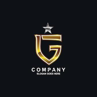 金色の文字gと星のロゴ