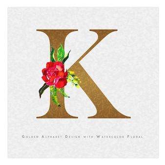 Golden letter k watercolor floral background