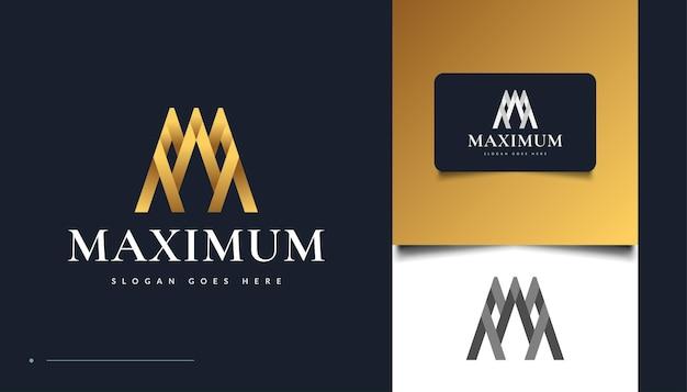 Дизайн логотипа золотая буква m с абстрактным понятием. m письмо логотип для фирменного стиля бизнеса
