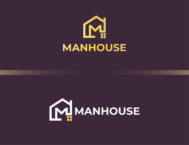 Золотая буква m логотип с концепцией дома или здания