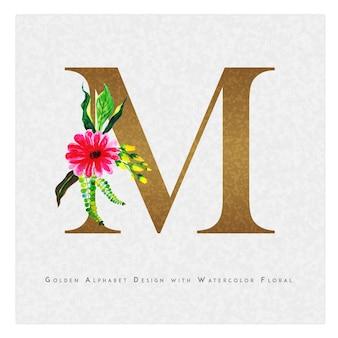 Golden letter m watercolor floral background