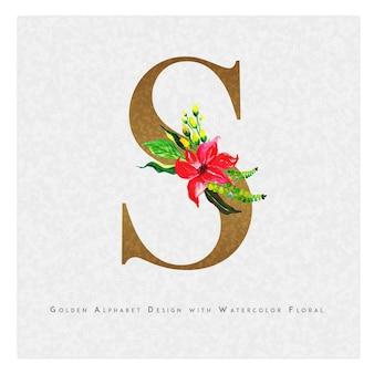 Golden letter s watercolor floral background