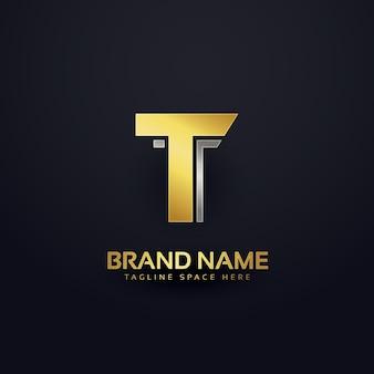 Шаблон шаблона логотипа золотой буквы t