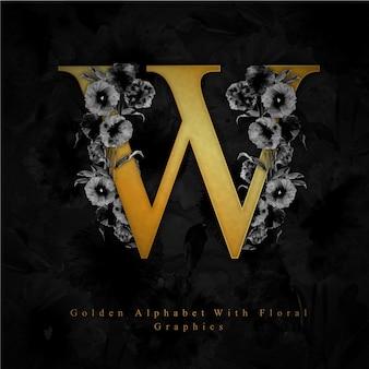 黄金の文字w水彩の花の背景