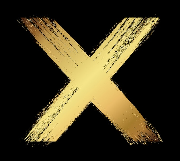 Golden letter x in grunge style