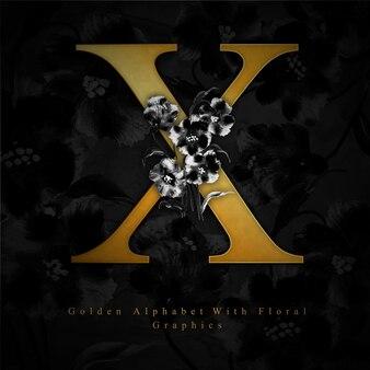 黄金の手紙x水彩の花の背景