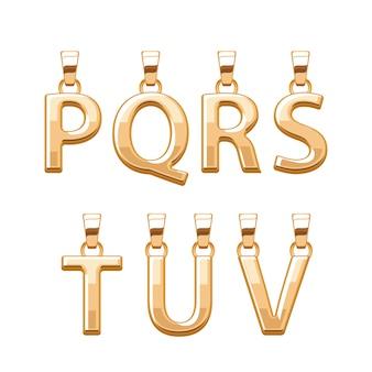 Набор золотых букв abc подвески. иллюстрация. подходит для украшений.