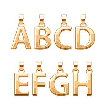 Golden letters abc pendants set.  illustration. good for jewelry .