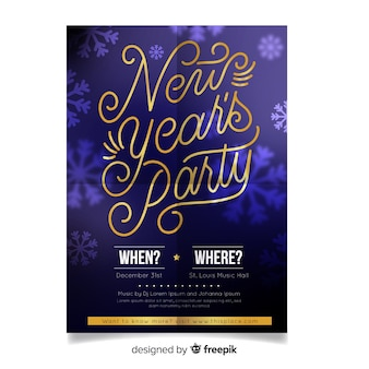 Golden letters new year party background