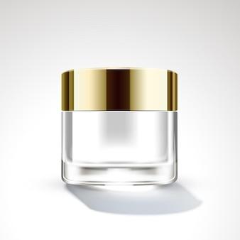 3d 그림에서 황금 뚜껑 크림 항아리 패키지 디자인