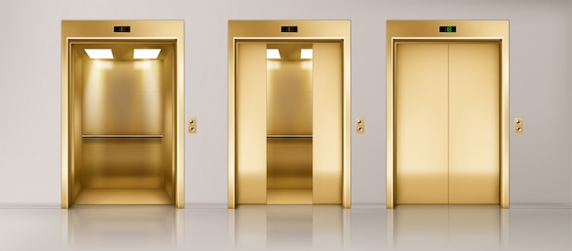 Golden lift doors set
