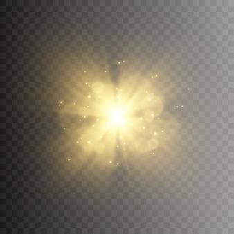 黄金の光。金色の閃光。輝く。太陽の光。光からのまぶしさ。