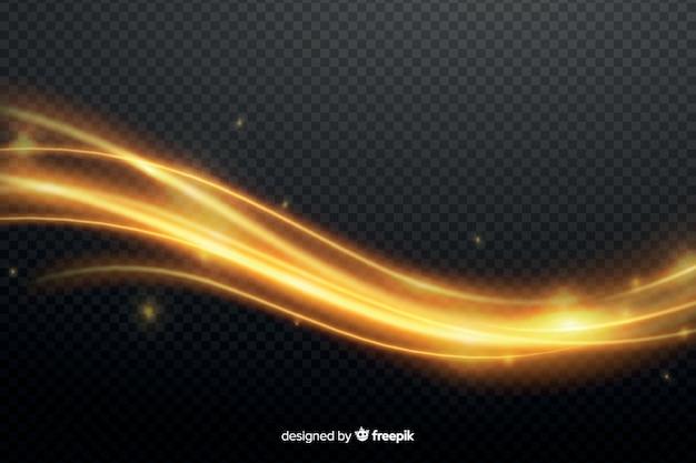 黄金の光の抽象的な波の効果