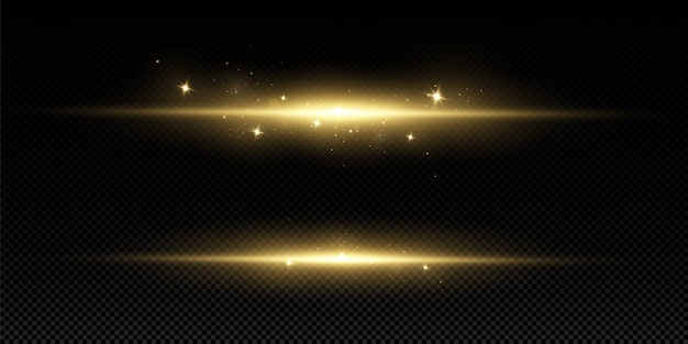 Golden light effect. abstract laser beams of light. chaotic neon rays of light .