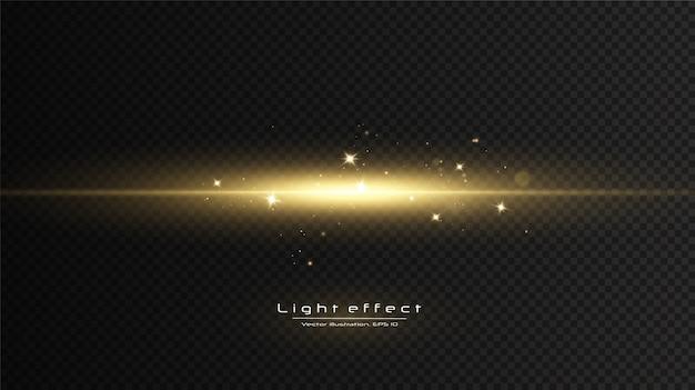 ゴールデンライト効果。光の抽象的なレーザービーム。混沌としたネオン光線。