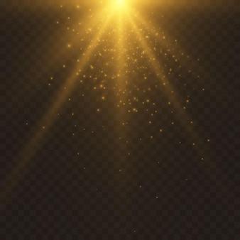 황금 조명 효과. 빛의 광선.