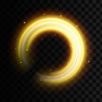 Golden light effect, glowing wavy lines, sparkles.