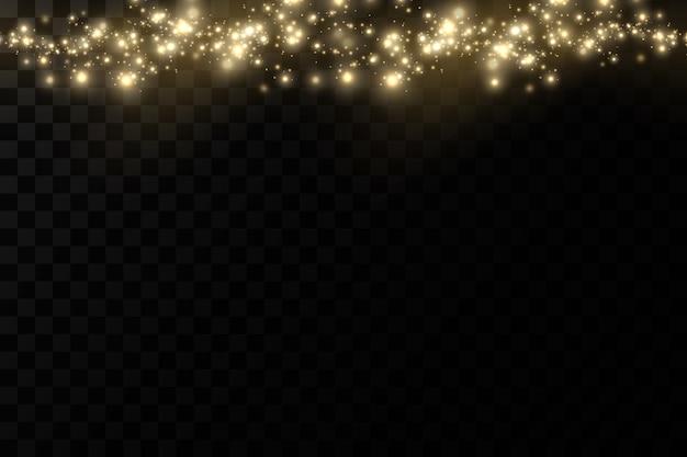 ゴールデンライト効果。きらめく魔法のほこりの粒子