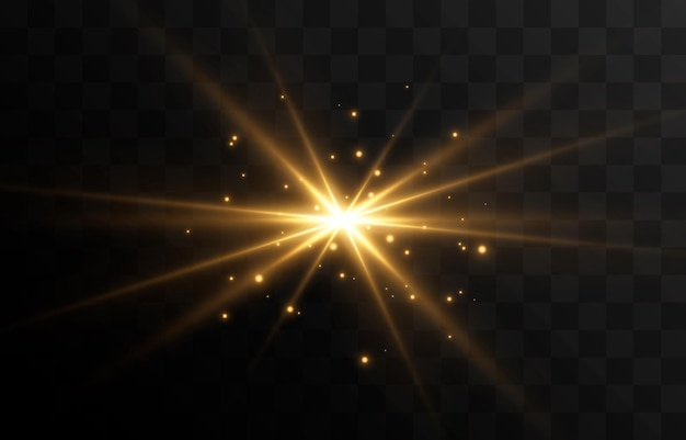 Golden light a flash of light a magical glow particles of sparks sun sun rays png light png