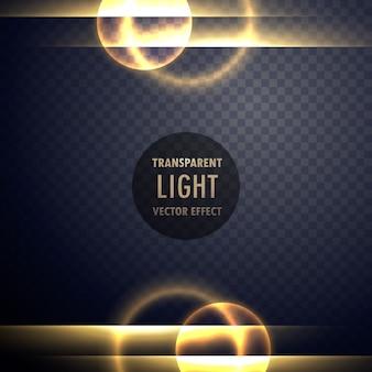 투명한 배경에 황금빛 렌즈 효과