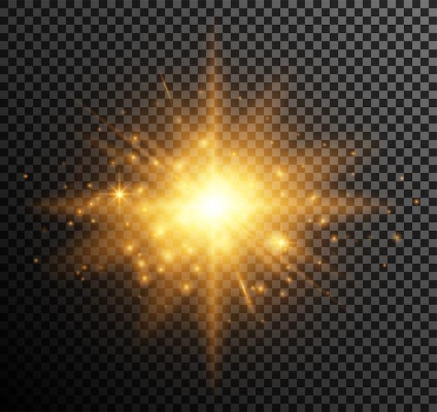 黄金の光。輝く粒子、ボケ、火花、まぶしさ、ハイライト効果