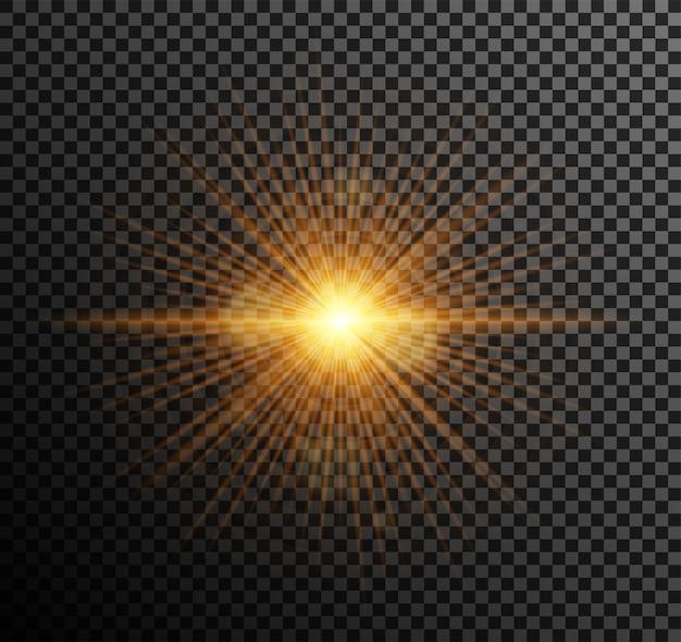 황금 빛. 하이라이트 효과로 빛나는 입자, 보케, 스파크, 눈부심