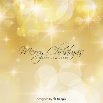 Golden lights christmas background