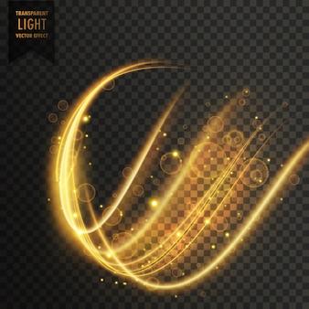 波状の黄金の透明な光の効果のベクトルの背景