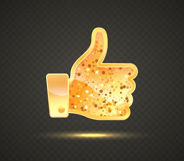 Золотой знак. рука с пальцем вверх символом социальных медиа вектор