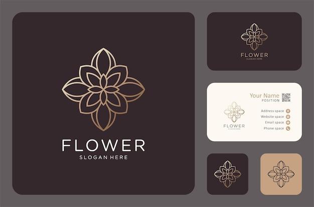 명함 디자인의 골든 라인 아트 꽃 로고.