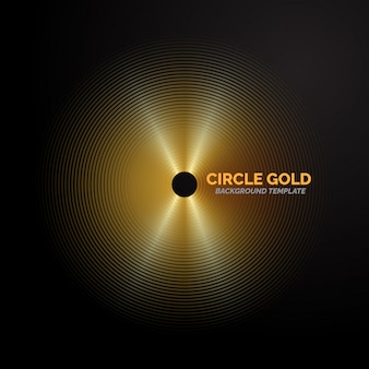 Golden line circle background template