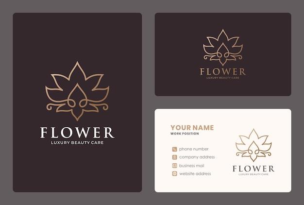 サロン、スパ、ヨガ、ウェルネス、マッサージ、美容ケアのためのゴールデンライン蓮の花のロゴ。