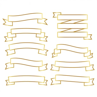 Golden line ribbons set