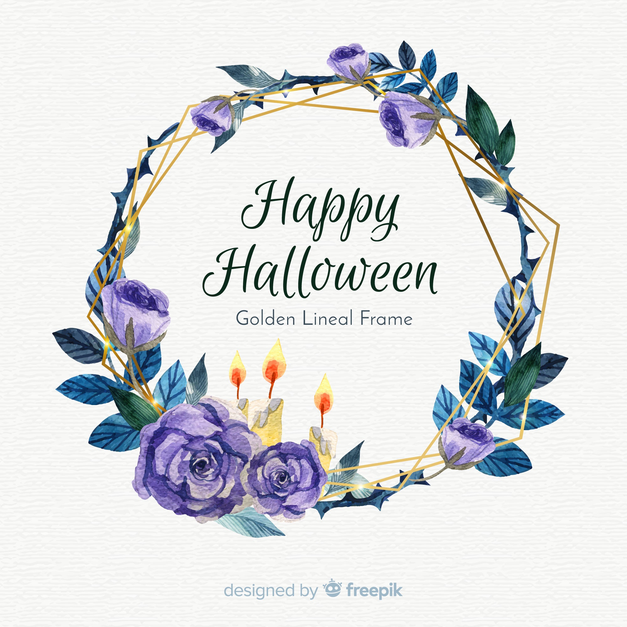 Golden lineal watercolor frame with halloween concept