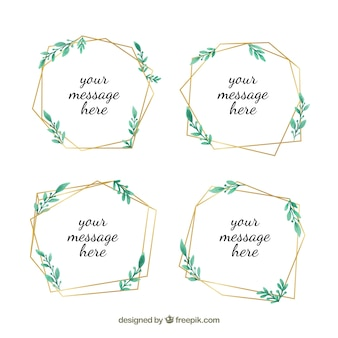 Golden lineals frames collection with watercolor leaves