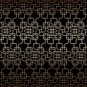 Golden linear seamless pattern, art deco, black and gold colors