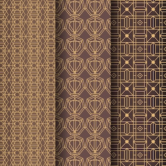 Golden lines art deco pattern template