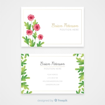 Golden lines business card with flowers template