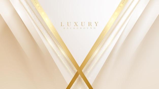 きらめく光、3dスタイルの豪華な背景、ベクトルイラストシーンデザインと金色の線の三角形。