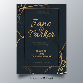 Golden lines wedding invitation template