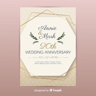 Golden lines wedding invitation