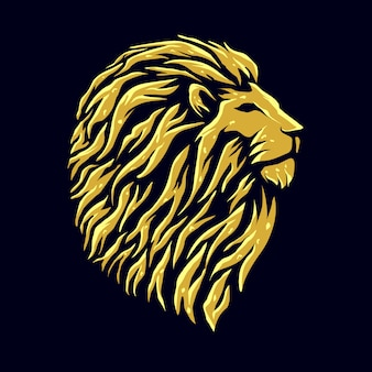 Golden lion head logo design