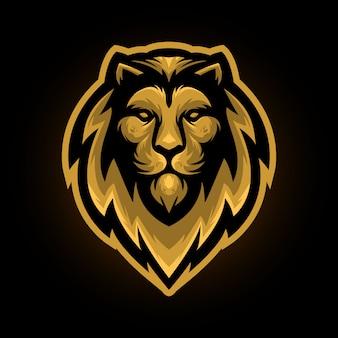 Golden lion head mascot logo
