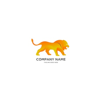 Golden lion logo illustration