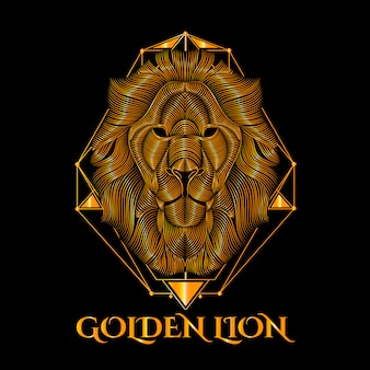 Golden lion vector art